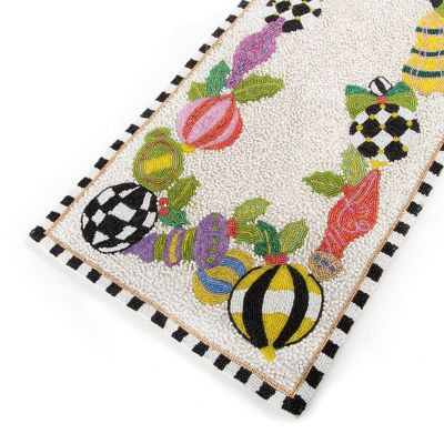 MacKenzie Childs Deck The Halls Beaded Table Runner