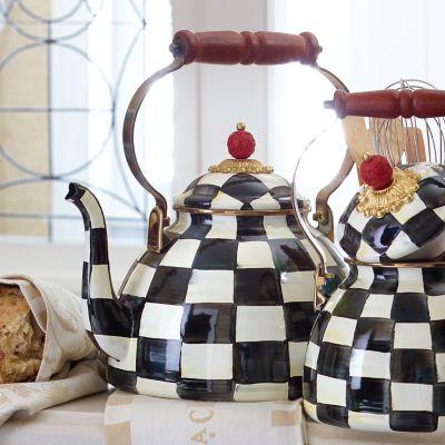 MacKenzieChilds  Courtly Check Enamel Tea Kettle  3 Quart