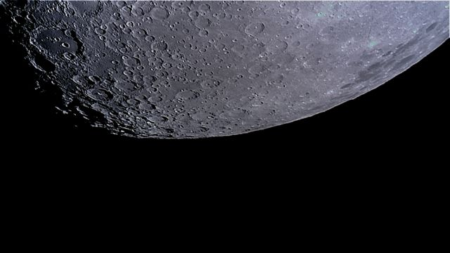 southern lunar landscape covered