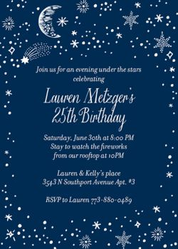 galaxy birthday party invitation
