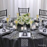 Black and White Polka-Dot Bridesmaids Luncheon Table ...