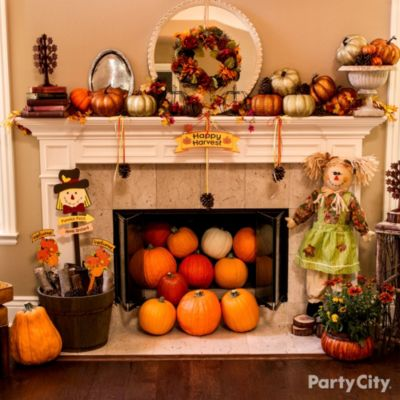 Better Homes And Gardens Fall Desktop Wallpaper Thanksgiving Mantels And Porch Ideas Party City