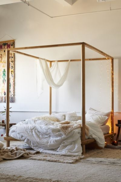 Eva Wooden Canopy Bed Urban Outfitters