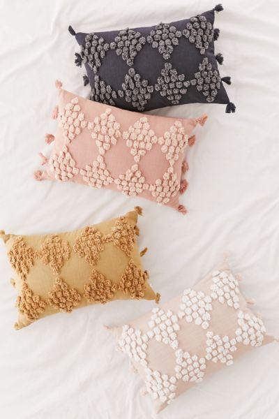 tufted geo bolster pillow
