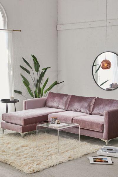 chamberlin velvet sectional sofa