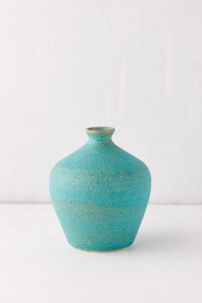 mini teal bud vase