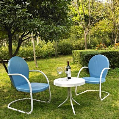 crosley outdoor griffith 3 pc metal outdoor conversation seating patio set with 2 chairs and side table