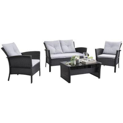 corliving cascade wicker rattan 4 pc patio lounge set