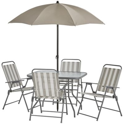 alcove outdoor patio 6 pc folding dining set gray white