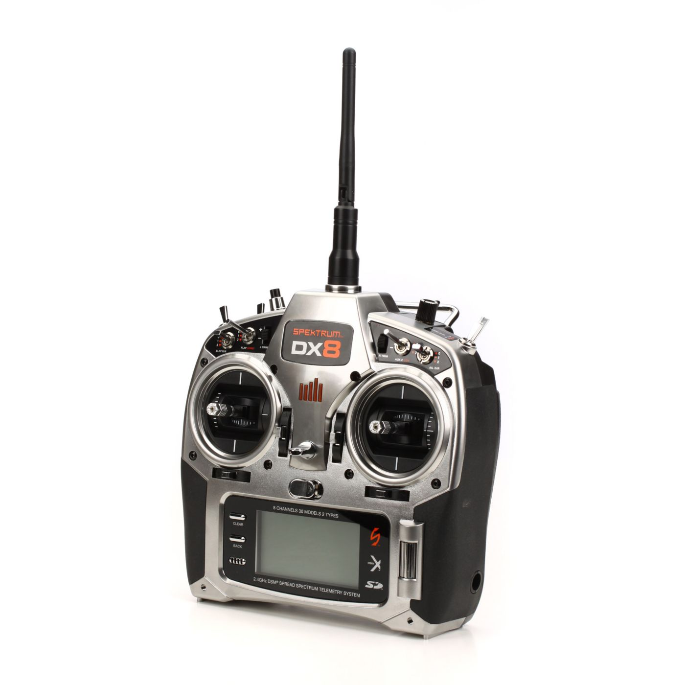 spektrum dx8 8 channel dsmx programmable transmitter with receiver and telemetry module horizon hobby [ 1400 x 778 Pixel ]