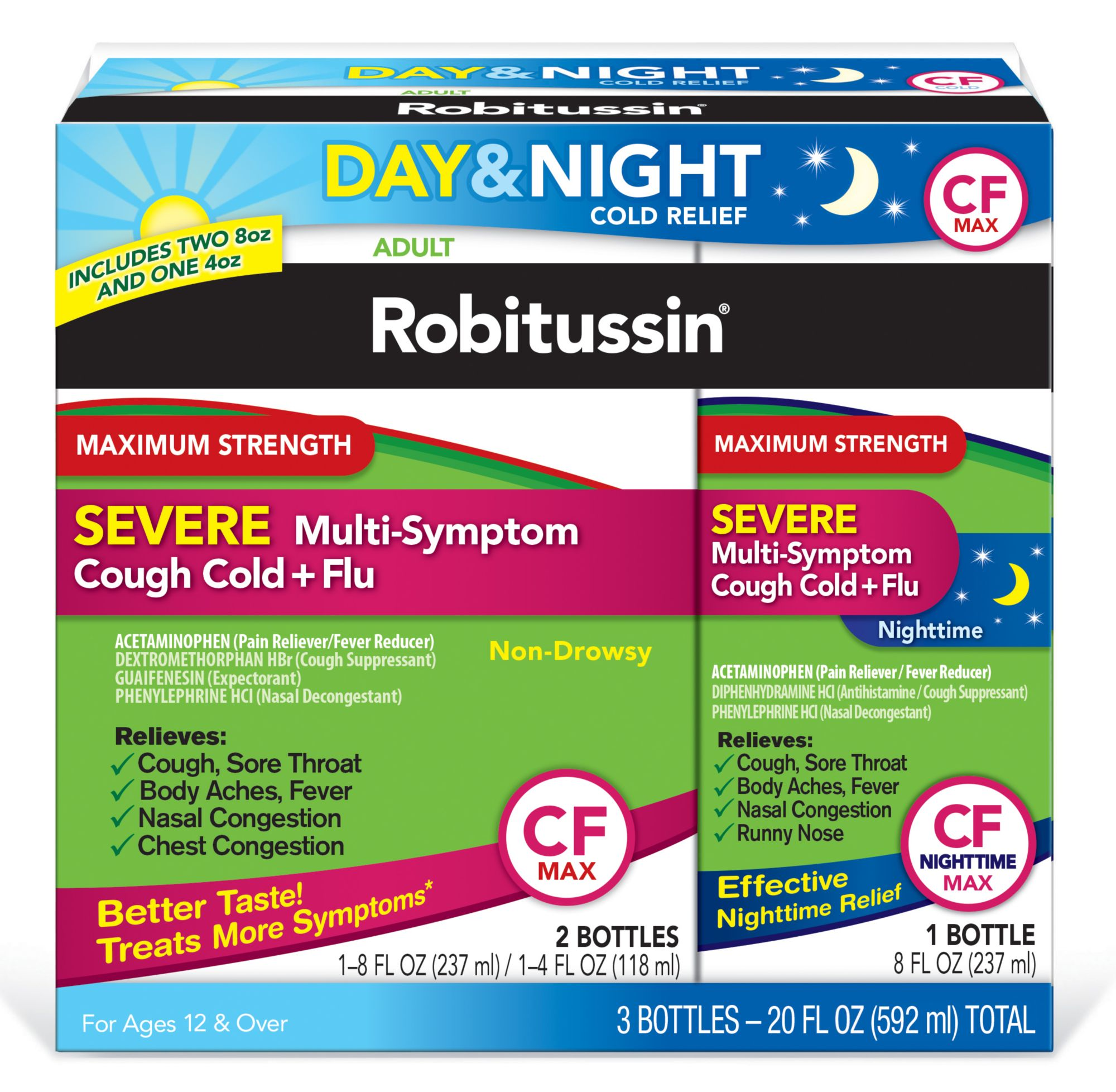 Robitussin CF Max Severe Multi-Symptom Cough Cold and Flu Day and ...