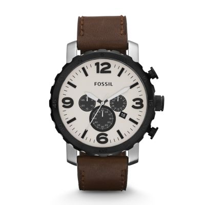 Fossil Nate Chronograph Leather Watch Brown