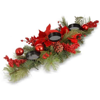 28 Inch Christmas Centerpiece With 3 Candle Holders Www