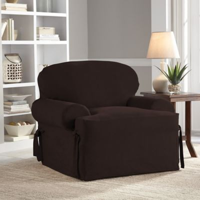 chair slipcover t cushion fishing camping buy slipcovers bed bath beyond perfect fit smooth suede relaxed in chocolate