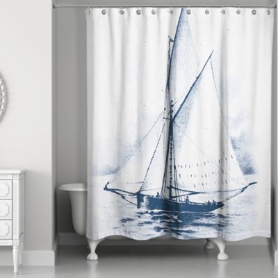 Designs Direct White Sailboat Shower Curtain in BlueWhite