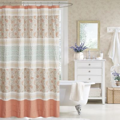 Madison Park Dawn 72Inch Shower Curtain in Coral  Bed Bath  Beyond