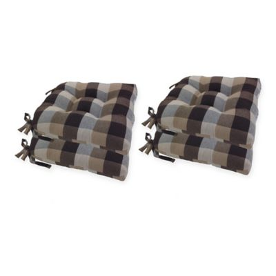 chair pads kitchen wholesale appliances buy bed bath beyond arlee home fashions buffalo plaid pad in chocolate set of 4