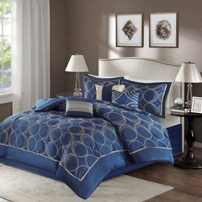 Madison Park Tamia 7Piece Comforter Set in Navy  Bed
