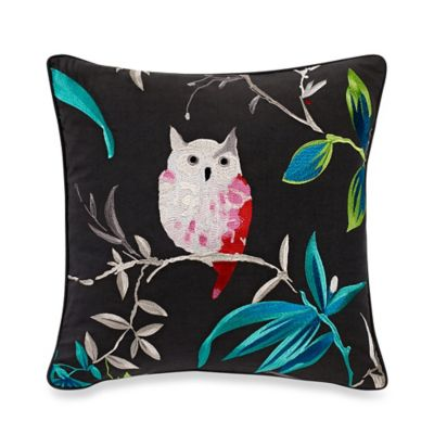 Kate Spade New York Trellis Blooms Owl Square Throw Pillow