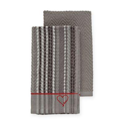 gray kitchen towels replacing cabinets buy grey bed bath beyond ed ellen degeneres in set of 2