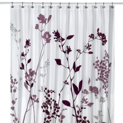 Reflections 72 inch x 72 inch fabric shower curtain in purple
