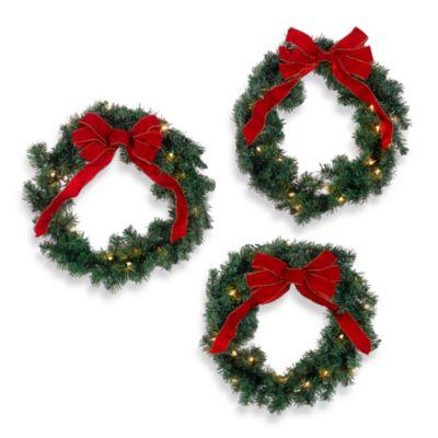 IndoorOutdoor 22 Inch Pre Lit Holiday Wreaths Set Of 3