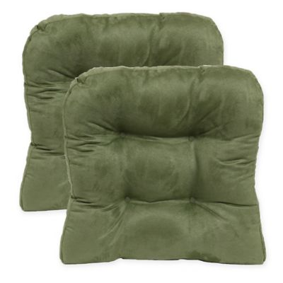 green chair cushions swivel office chairs uk buy pads bed bath beyond faux suede non skid waterfall pad in leaf set of 2