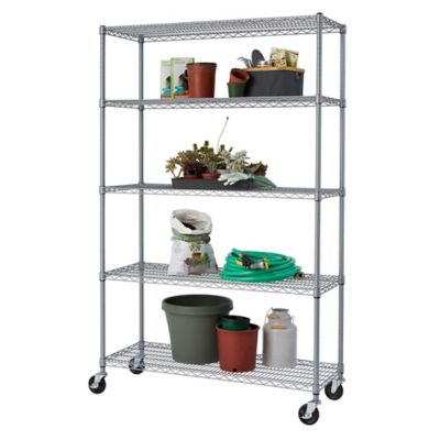 kitchen wire rack horizontal grain cabinets buy shelving bed bath beyond trinity outdoor wheeled 5 shelf in grey