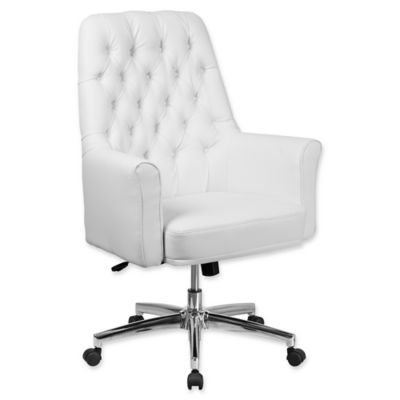 white tufted chair golden lift buy bed bath beyond flash furniture mid back leather executive office in