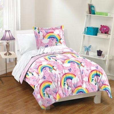 Dream Factory Unicorn Rainbow Reversible Comforter Set Bed Bath Amp Beyond