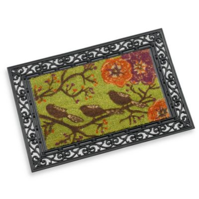 bed bath and beyond kitchen mat wall table for rubber door frame three birds decorative insert ...