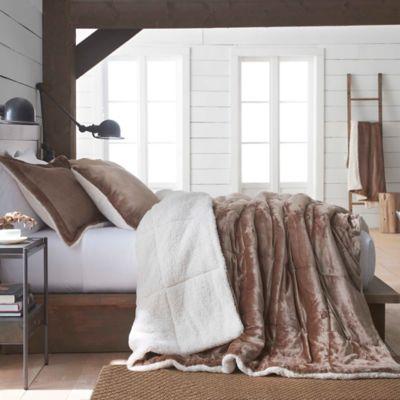 Vellux Plush Sherpa Reversible Comforter Set  Bed Bath