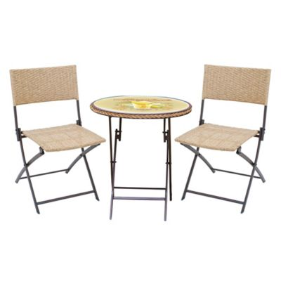 margaritaville chairs for sale boppy baby chair buy patio furniture bed bath beyond hemmingway 3 piece wicker bistro set in yellow brown