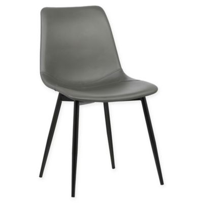 leather kitchen chairs roman chair workout abs buy bed bath beyond armen living monte black powder coated steel dining in grey