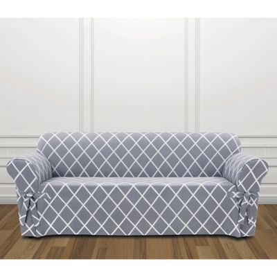 sure fit logan sofa slipcover cindy crawford pearl leather buy blue bed bath beyond lattice in pacific