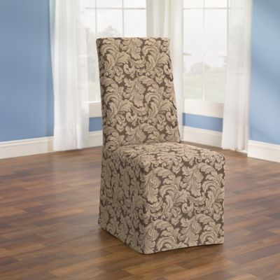 dining chair covers newborn high buy protective bed bath beyond sure fit scroll cover in brown