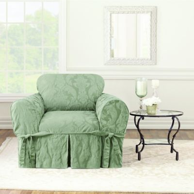 chair covers sage green ergonomic godrej price buy damask bed bath beyond sure fit matelasse cover in
