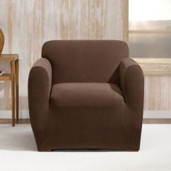 Brown Chair Covers Chairs For Kids With Adhd Buy Cover Slipcover Bed Bath Beyond Sure Fit Stretch Morgan Box Cushion In Chocolate