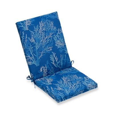 cushions for wicker chairs sure fit dining chair covers buy bed bath beyond print indoor outdoor folding cushion in cobalt sea coral