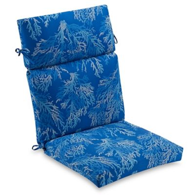 high back wicker chair cushions 8 dining table dimensions buy patio cushion bed bath beyond outdoor in cobalt sea coral