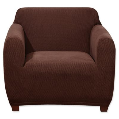 stretch chair covers lift walmart buy bed bath beyond sure fit hudson cover in chocolate