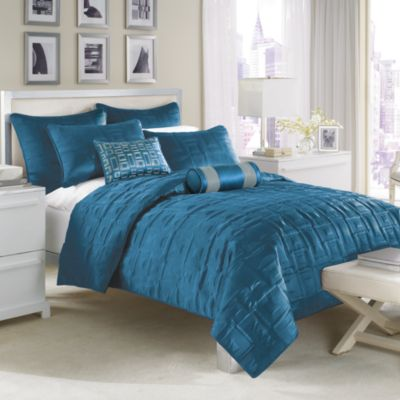 Nicole Miller City Squares Coverlet Peacock Bed Bath