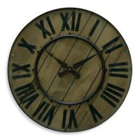 """Rustic Style Wood and Wrought Iron 18"""" Wall Clock - Bed ..."""