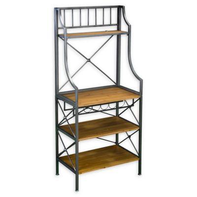 kitchen bakers rack outdoor designs plans buy baker racks bed bath beyond southern enterprises sedgemoor in antique grey with dark pine