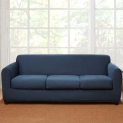Sure Fit Logan Sofa Slipcover Faux Leather Dye Buy Blue Bed Bath Beyond 4 Piece Stretch Suede In