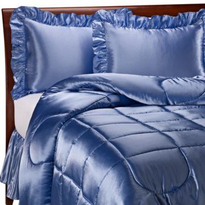 Charmeuse French Blue Satin Comforter Set Bed Bath Amp Beyond