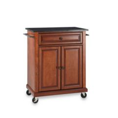 Crosley Kitchen Island Wooden Set Black Granite Top Rolling Portable Cart ...