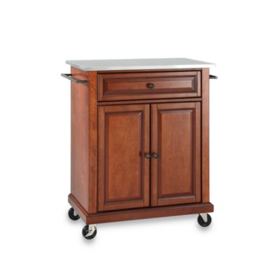 cherry kitchen island pottery barn set used buy carts bed bath beyond crosley stainless top rolling portable cart in