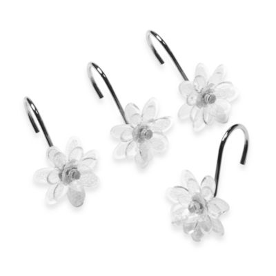 Steve Madden Clear Flower Shower Curtain Hooks (Set of 12