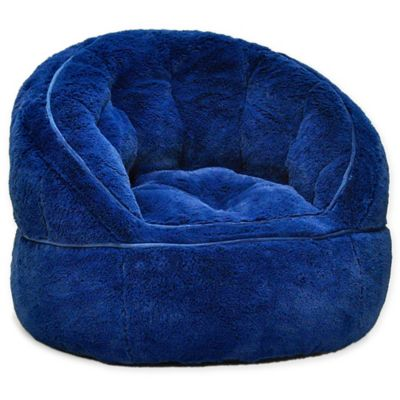 blue bean bag chairs wicker chair replacement cushions buybuy baby urban shop faux fur in navy